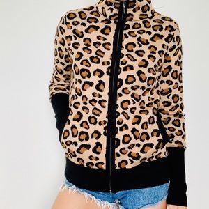Rachel Zoe leopard zip cardigan sweater jacket m